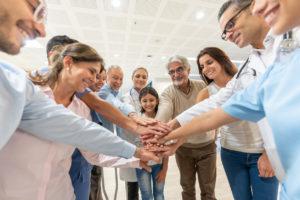 Horizon Hospice team has a group meeting.